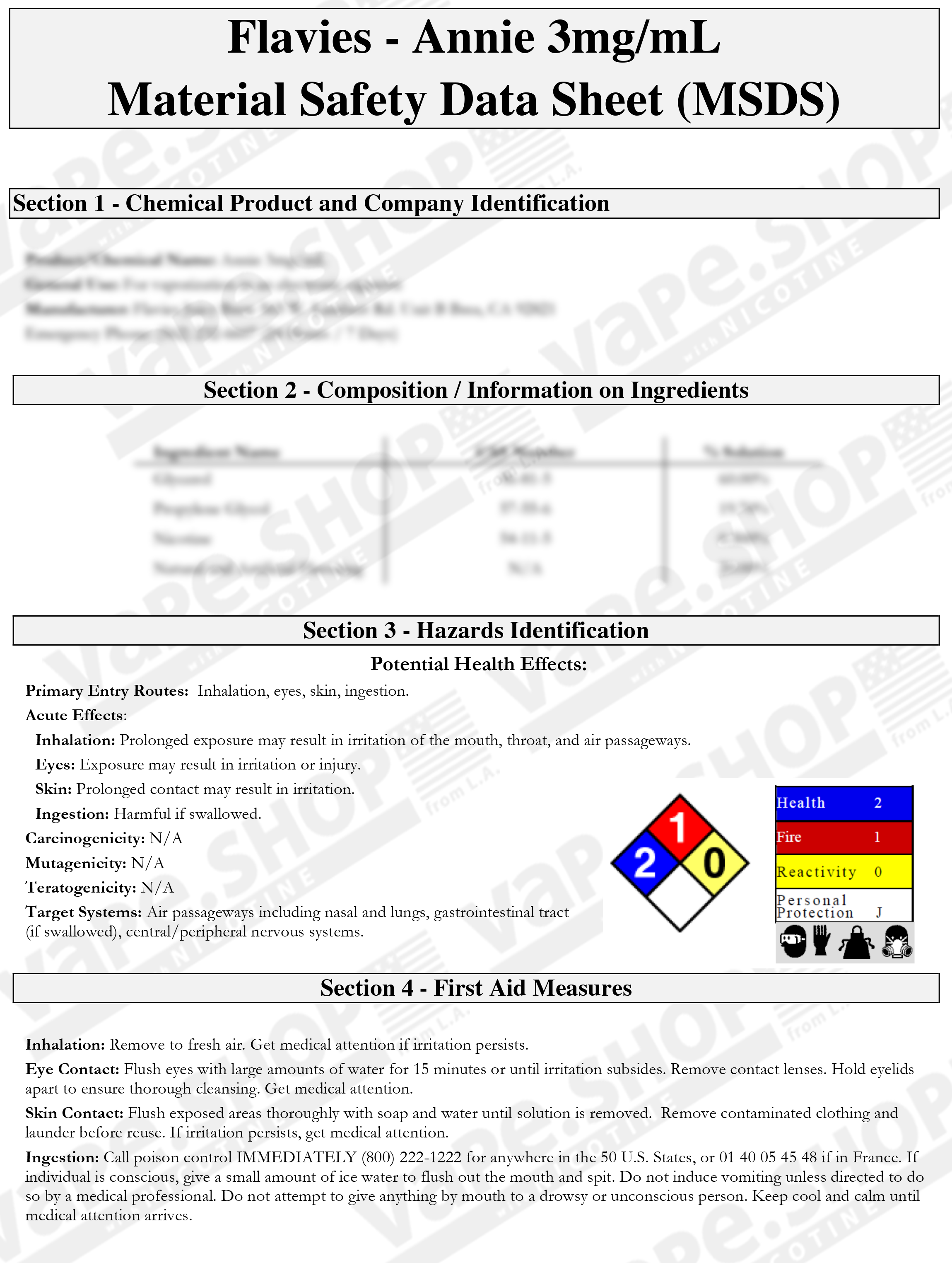 Flaviesの安全データシート(Safety Data Sheet)