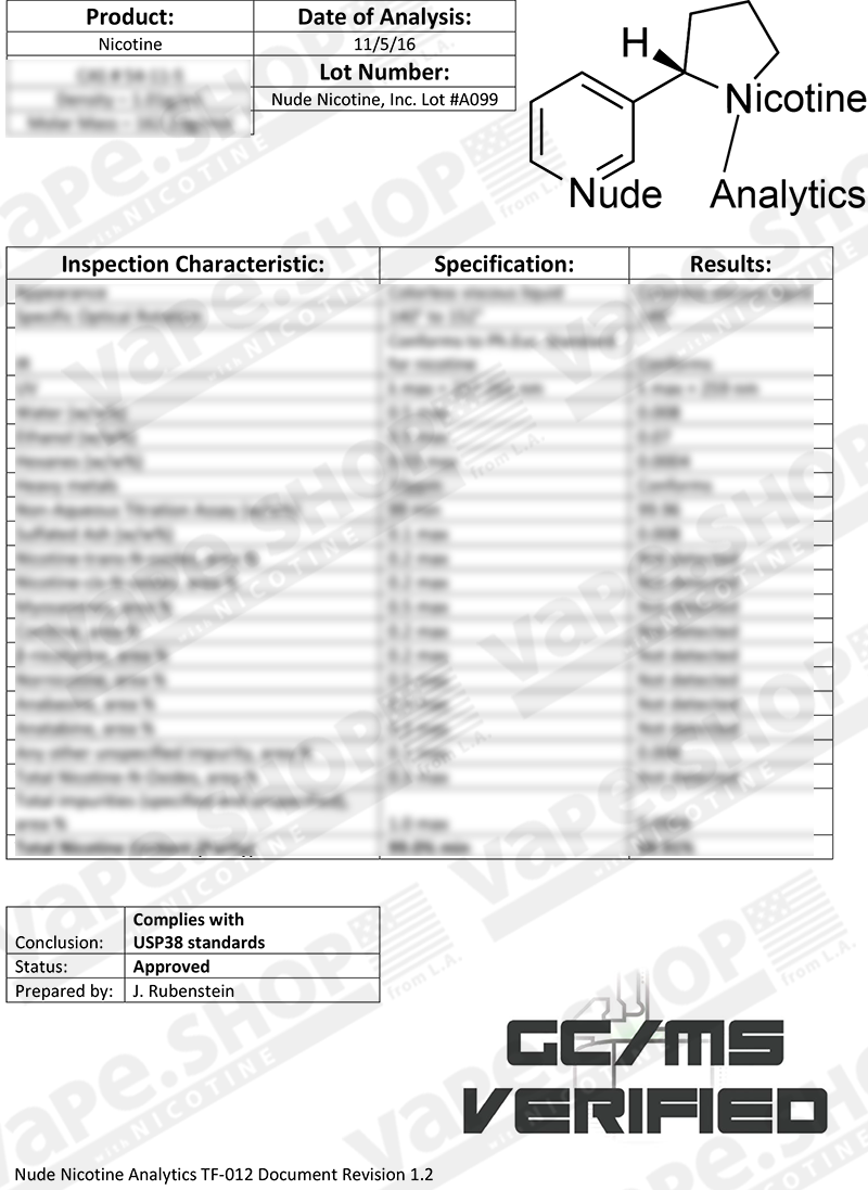 Nonflavornicotineの安全データシート(Safety Data Sheet)